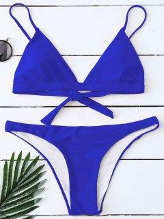 Padded Back Tied Bikini Swimwear - Blue S