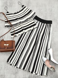 Tiered Flounce Striped Top And Pants Set - Black Stripe S
