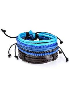 Beaded Woven Faux Leather Rope Bracelets Set - Blue
