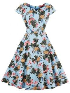 Pineapple Print A Line Plus Size Vintage Dress - Light Blue 4xl