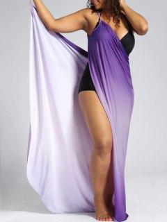 Ombre Plus Size Wrap Cover Up Maxi Dress - Purple 3xl
