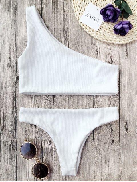 women's Ribbed Texture One Shoulder Bikini - WHITE S Mobile