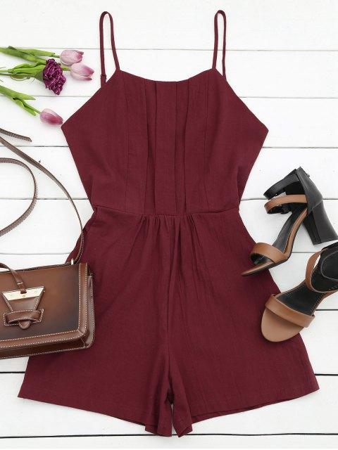hot Side Pockets Cami Romper - WINE RED L Mobile