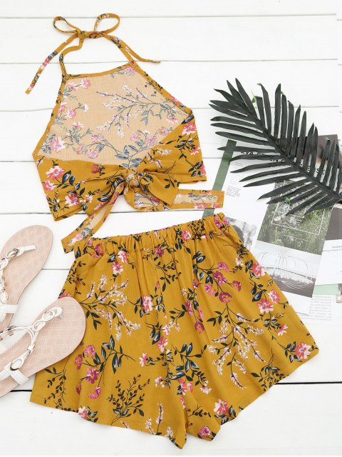 shop Halter Floral Crop Top with Shorts - YELLOW S Mobile