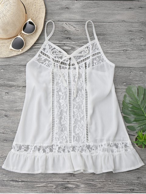 shops Lace Chiffon Beach Cover Up Cami Top - WHITE XL Mobile