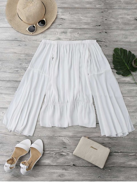 fashion Off The Shoulder Chiffon Beach Cover Up Top - WHITE XL Mobile