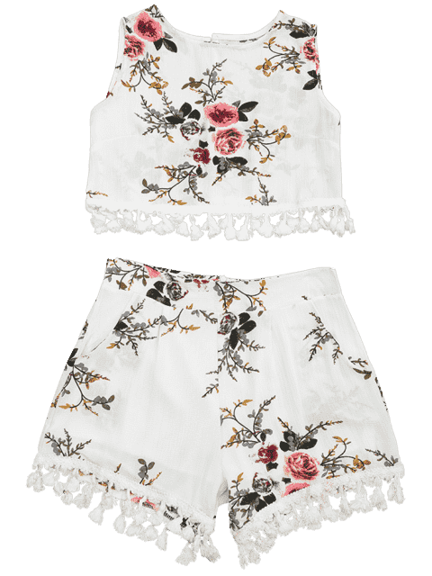 womens Floral Print Beach Cover Up Shorts Set - OFF-WHITE S Mobile