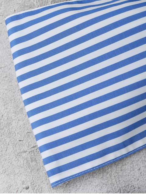 online Knot Bandeau Shorts Set Beach Cover Up - BLUE AND WHITE L Mobile