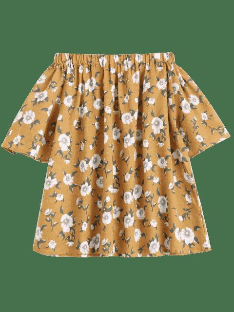 fashion Tiny Floral Off Shoulder Blouse - GINGER L Mobile