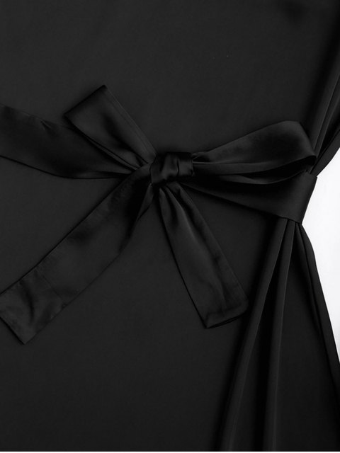 chic Satin Cami Slip Dress With Choker Strap - BLACK L Mobile