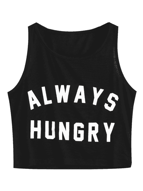 new Graphic Always Hungry Cropped Tank Top - BLACK S Mobile