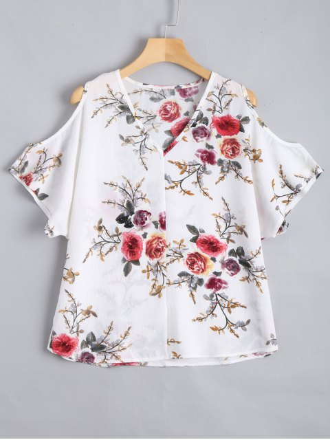 latest Cold Shoulder Floral Print Blouse - WHITE L Mobile