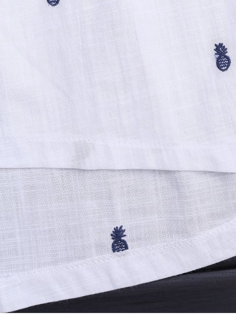 affordable Drawstring Pineapple Embroidered Cutout Shirt Dress - WHITE S Mobile