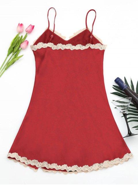 online Shiny Satin Slip Dress - RED XL Mobile