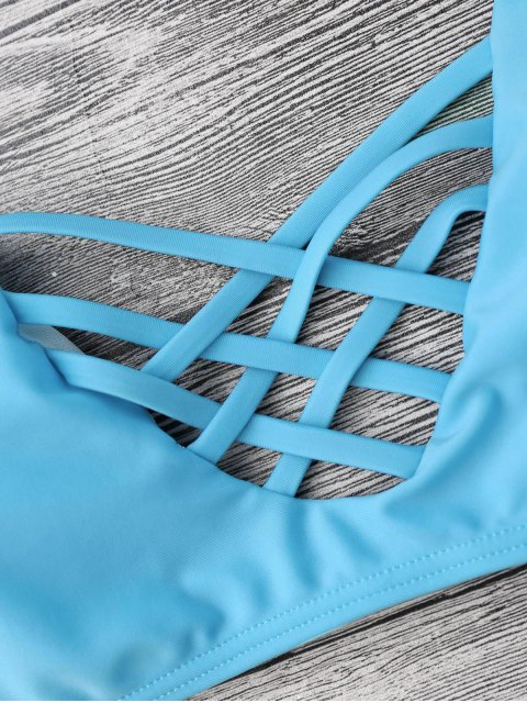 fancy Strappy Lattice Padded Bralette Bikini Set - BLUE S Mobile