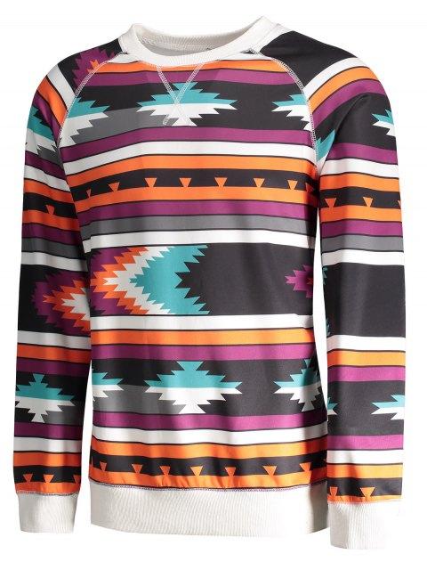 trendy Raglan Sleeve Tribal Print Sweatshirt - COLORMIX XL Mobile