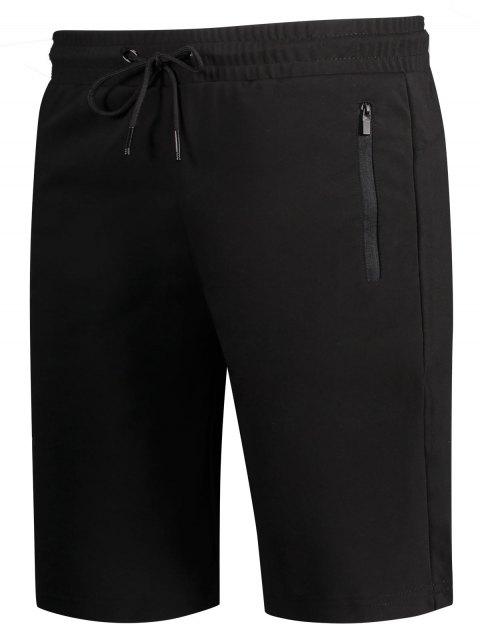 new Zip Pocket Drawstring Sport Shorts - BLACK 4XL Mobile