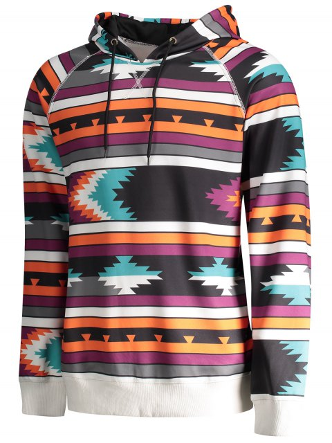 chic Raglan Sleeve Tribal Print Pullover Hoodie - COLORMIX L Mobile
