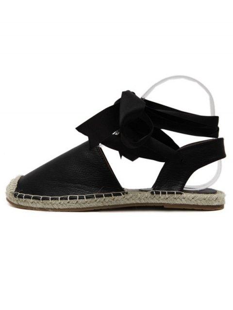 ladies Tie Up Espadrilles Flat Heel Sandals - BLACK 40 Mobile