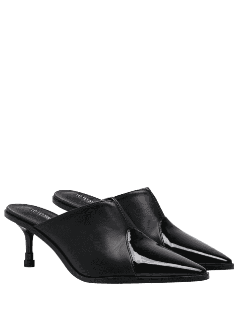 outfits Faux Leather Pointed Toe Slippers - BLACK 39 Mobile