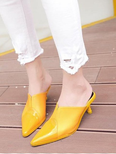 fashion Faux Leather Pointed Toe Slippers - YELLOW 37 Mobile