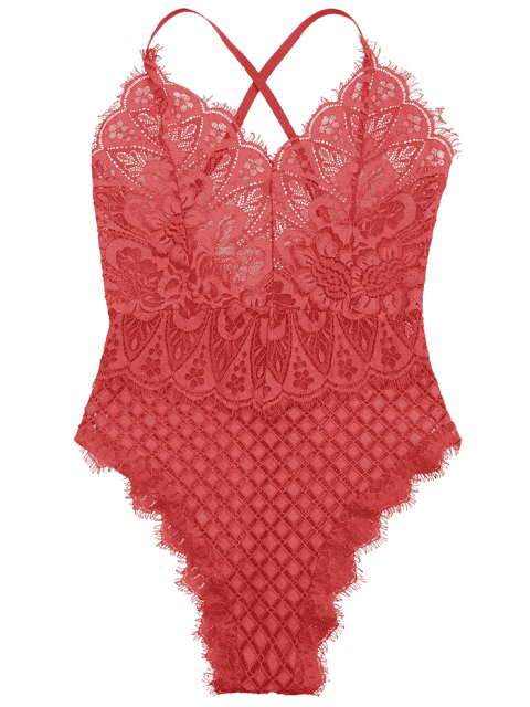 best Sheer Lace Lingerie Teddy - RED S Mobile