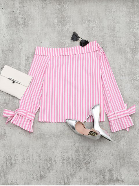 women Off The Shoulder Long Sleeve Striped Blouse - PINK M Mobile