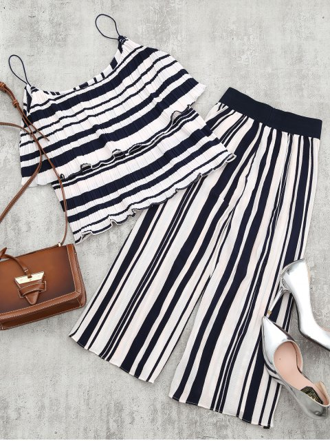chic Tiered Flounce Striped Top and Pants Set - BLUE STRIPE M Mobile