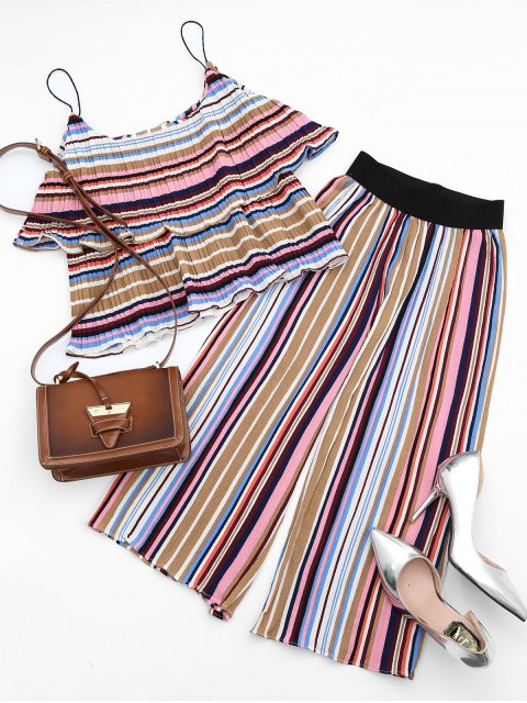 lady Tiered Flounce Striped Top and Pants Set - COLORFUL S Mobile