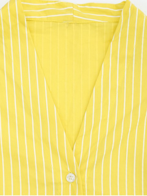 trendy Drawstring Sleeve Button Up Striped Blouse - YELLOW S Mobile