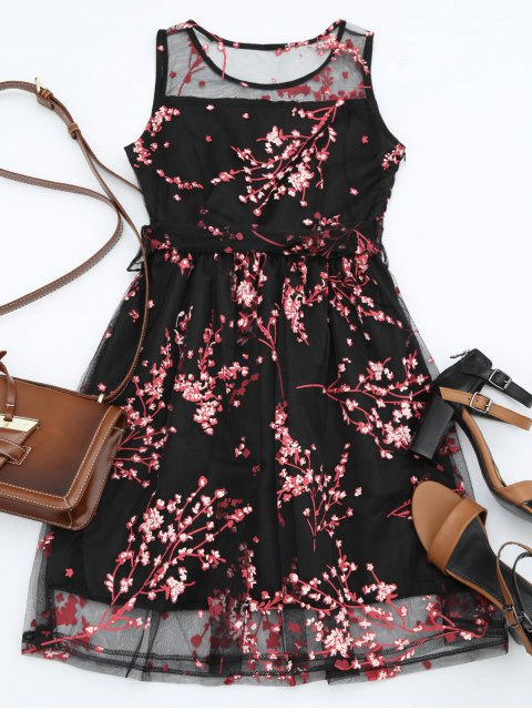 shops Sleeveless Belted Floral Print Dress - RED L Mobile