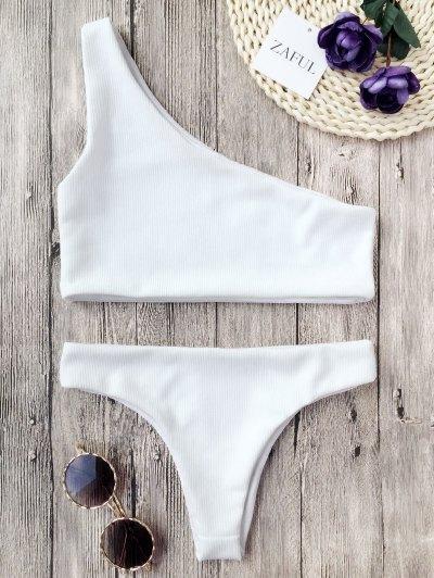 Bikini Con Textura Con Nervaduras De Un Hombro - Blanco S