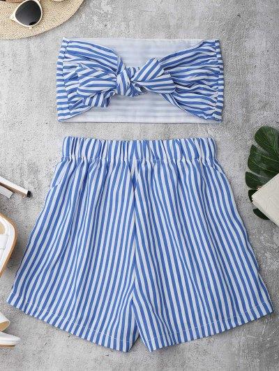 Juego De Pantalones Cortos Con Nudo - Azul Y Blanco M