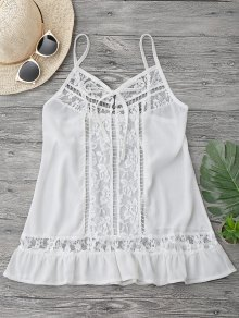 Lace Chiffon Beach Cover Up Cami Top - White L