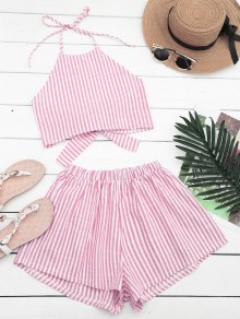 Halter Striped Two Piece Suit - Red And White S
