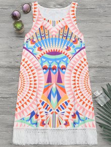 African Print Beach Cover Up Tank Dress - Multicolor L