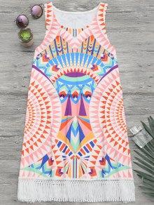 فستان طباعة افريقيا شاطئ غلاف سترة - متعدد الألوان M