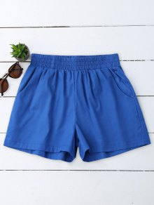 Casual High Waisted Shorts - Blue M