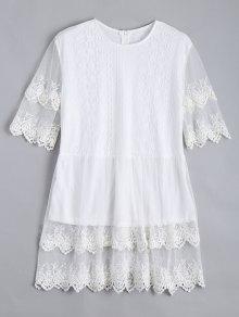 Lace Panel Longline Blouse - White Xl