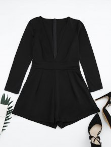 Plunging Neck Long Sleeves Pocket Romper - Black Xl