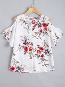 Cold Shoulder Floral Print Blouse - White Xl