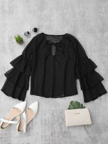 Semi Sheer Plumetis Bell Sleeve Beach Top - Black M