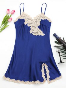 Shiny Satin Slip Dress - Sapphire Blue L
