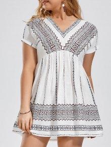 Batwing Graphic Plus Size Dress - White 2xl