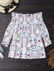 Floral Print Ruffle Hem Blouse - White Xl