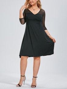 Voile Panel Plus Size Surplice Dress - Black 2xl
