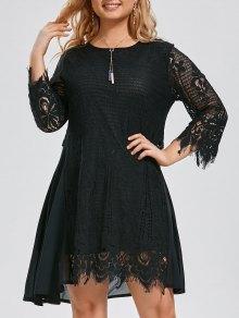 Plus Size Chiffon Panel Sheer Scalloped Dress - Black 3xl