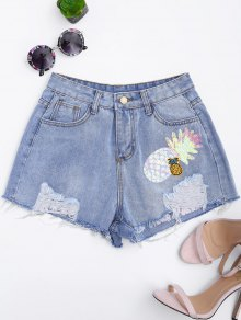 Patched Pineapple Sequined Ripped Denim Shorts - Denim Blue