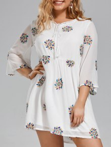 Plus Size Embroidered Lace Trim Dress - White Xl