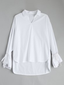 Self Tie Flare Sleeve High Low Blouse - White L